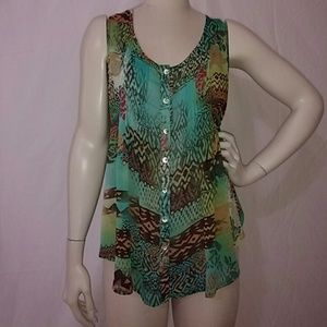 Multi color sleeveless tunic blouse